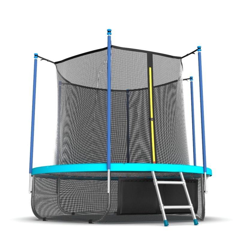 Фотография EVO JUMP Internal 10ft (цвет Sky или Wave) Батут с внутренней сеткой и лестницей, диаметр 10ft + нижняя сеть 5