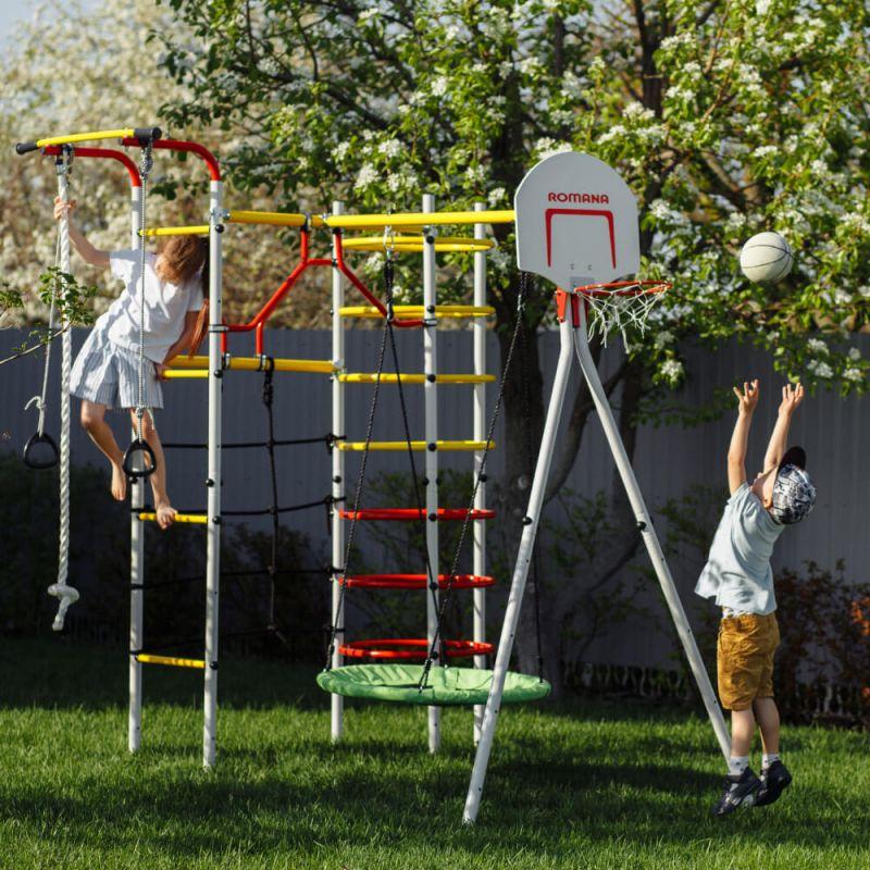 Фотография Детский спортивный комплекс для дачи ROMANA Космодром NEW + качели-гнездо 2