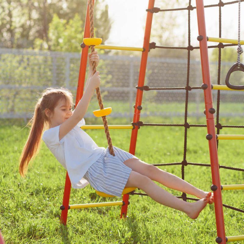 Фотография Детский спортивный комплекс для дачи ROMANA Богатырь NEW + качели-гнездо 4