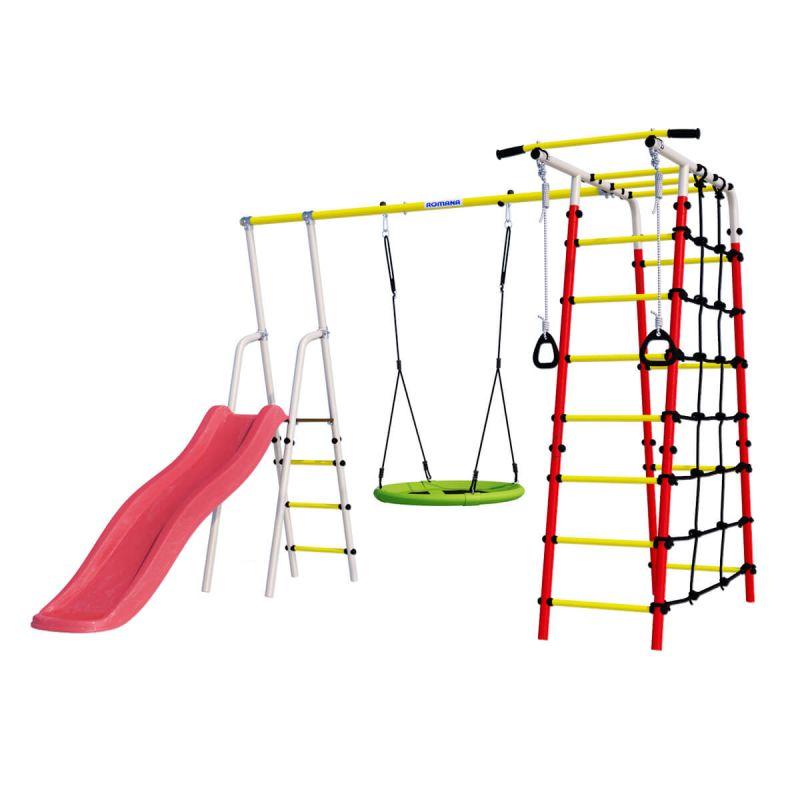 Фотография Детский спортивный комплекс для дачи ROMANA Богатырь NEW + качели-гнездо 0