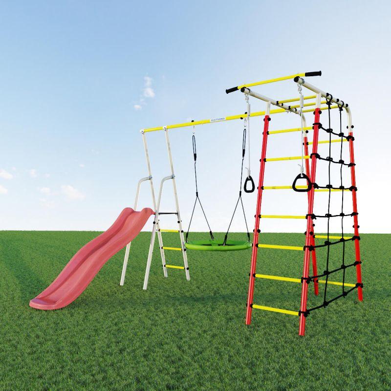 Фотография Детский спортивный комплекс для дачи ROMANA Богатырь NEW + качели-гнездо 1