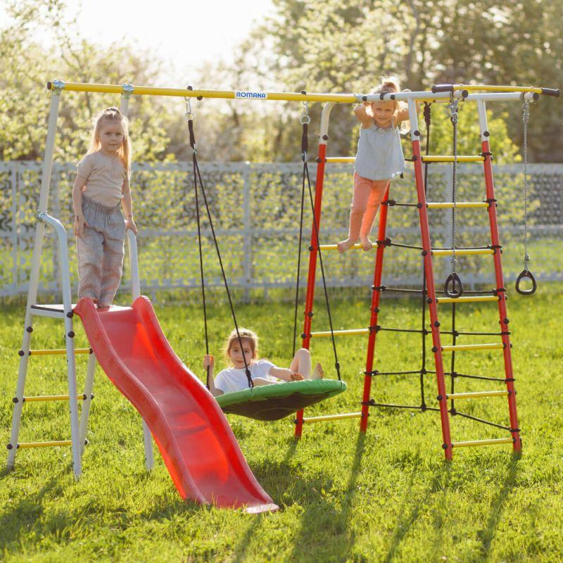 Фотография Детский спортивный комплекс для дачи ROMANA Богатырь NEW + качели-гнездо 2