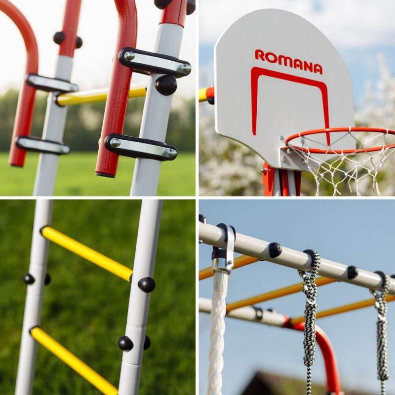 Фотография Детский спортивный комплекс для дачи ROMANA Fitness NEW + качели-гнездо 2
