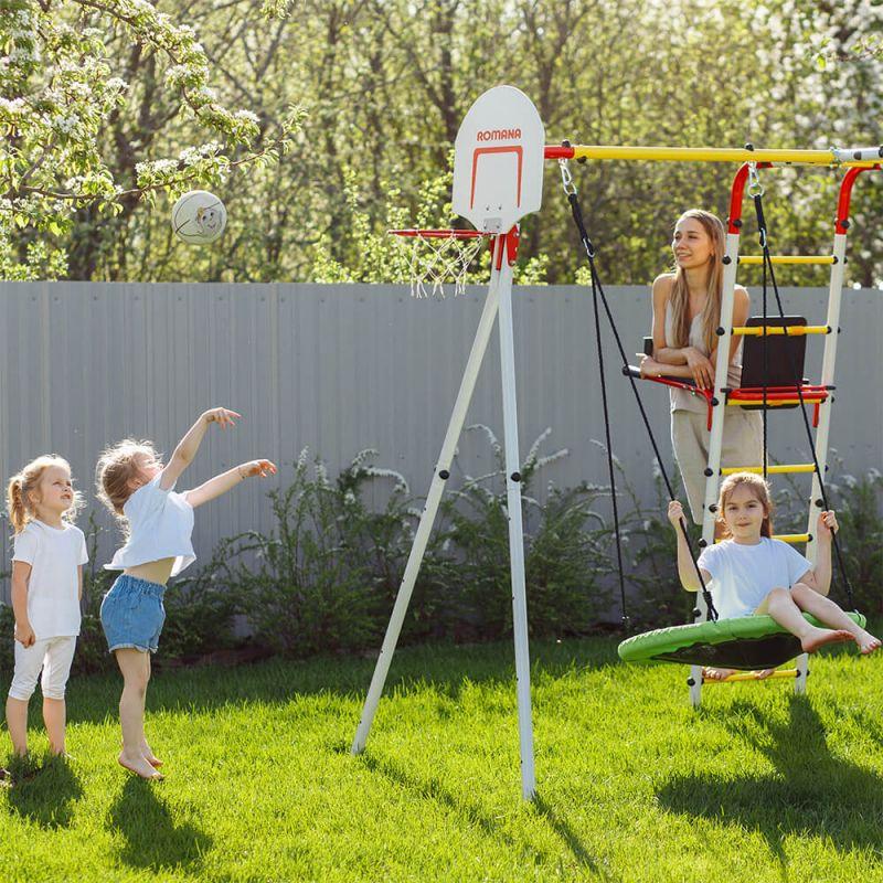 Фотография Детский спортивный комплекс для дачи ROMANA Fitness NEW + качели-гнездо 4