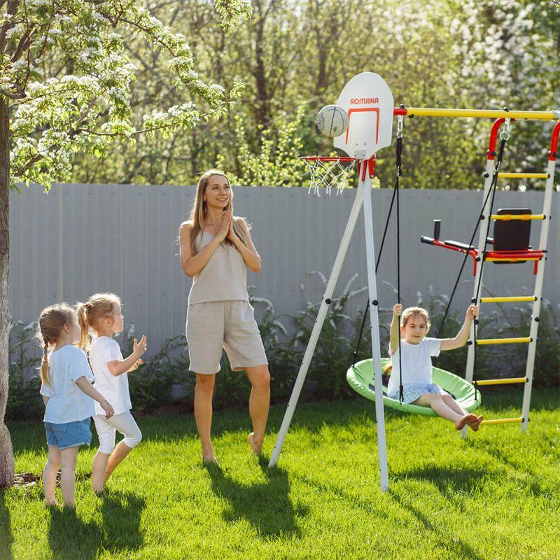 Фотография Детский спортивный комплекс для дачи ROMANA Fitness NEW + качели-гнездо 3
