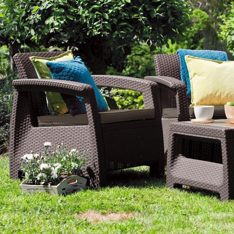 Фотография Комплект садовой мебели Keter Corfu II Weekend Set brown 2