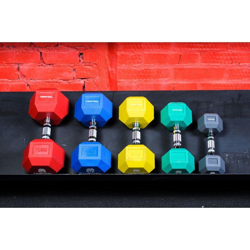 Фотография Гантели цветные полиуретановые 5-25 кг 3
