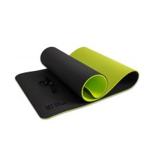 Миниатюра Коврик для йоги 10 мм двухслойный TPE черно-зеленый 0  мини