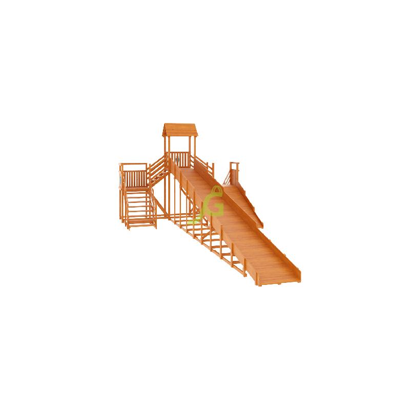 Фотография Зимняя деревянная горка Snow Fox 12 м с двумя скатами (две лестницы) 5