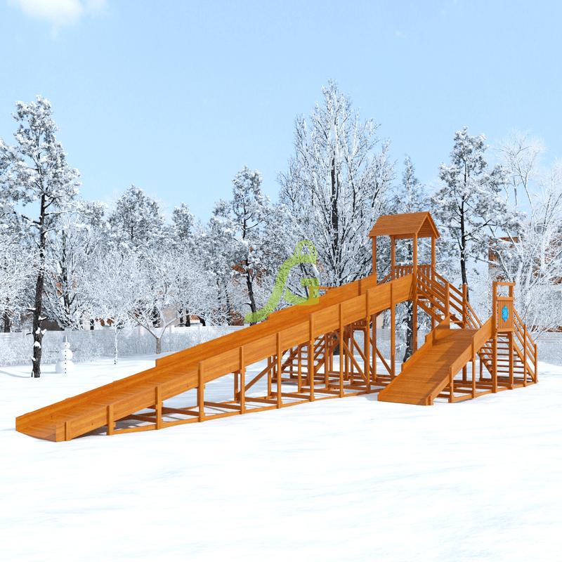 Фотография Зимняя деревянная горка Snow Fox 12 м с двумя скатами (две лестницы) 0