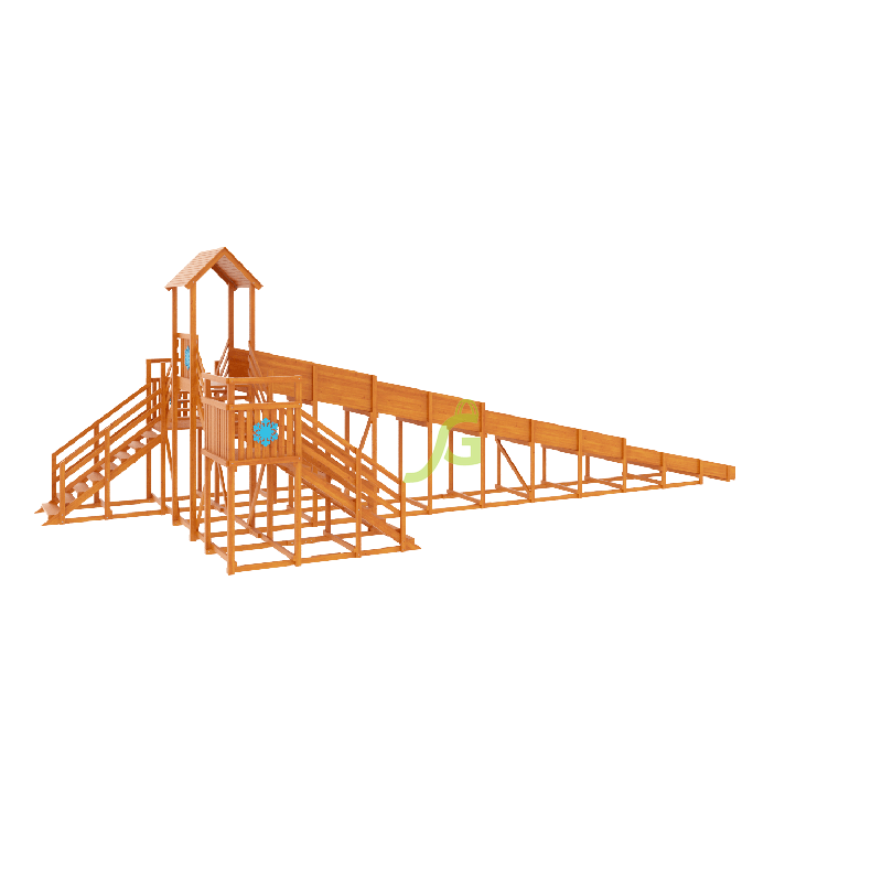 Фотография Зимняя деревянная горка Snow Fox 12 м с двумя скатами (две лестницы) 4