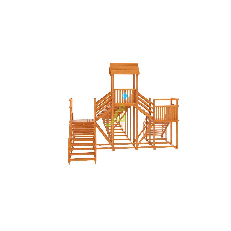 Фотография Зимняя деревянная горка Snow Fox 12 м с двумя скатами (две лестницы) 6