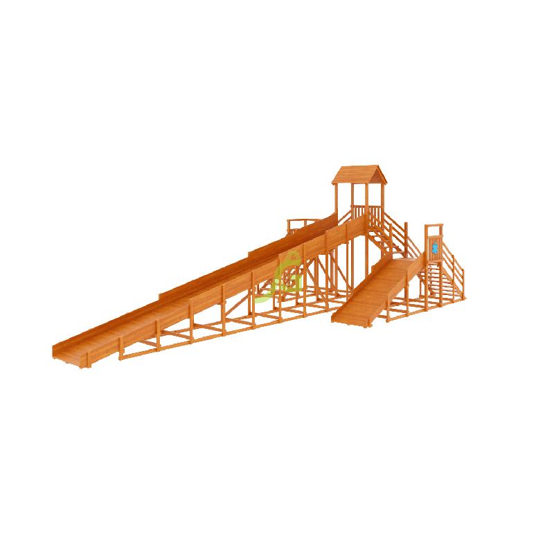 Фотография Зимняя деревянная горка Snow Fox 12 м с двумя скатами (две лестницы) 8