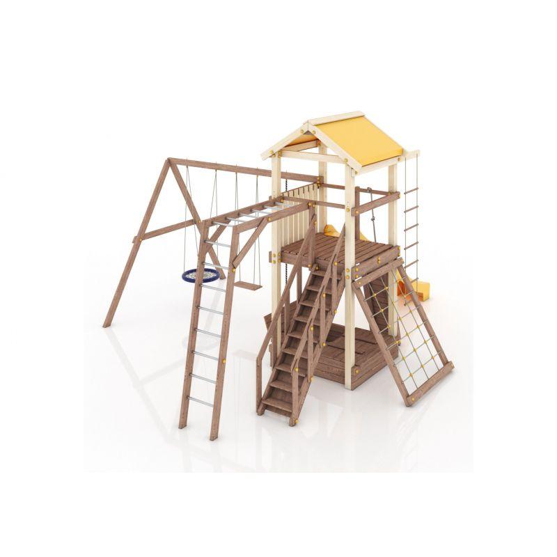 Фотография Деревянная детская площадка Барселона с тентовой крышей 9