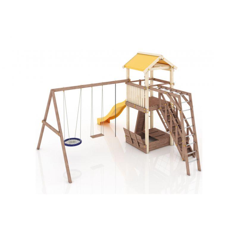 Фотография Деревянная детская площадка Барселона с тентовой крышей 7