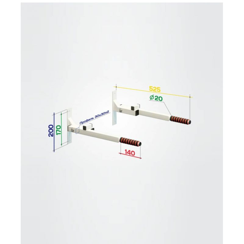Фотография Брусья настенные Pulse, складные, вынос 50 см 2