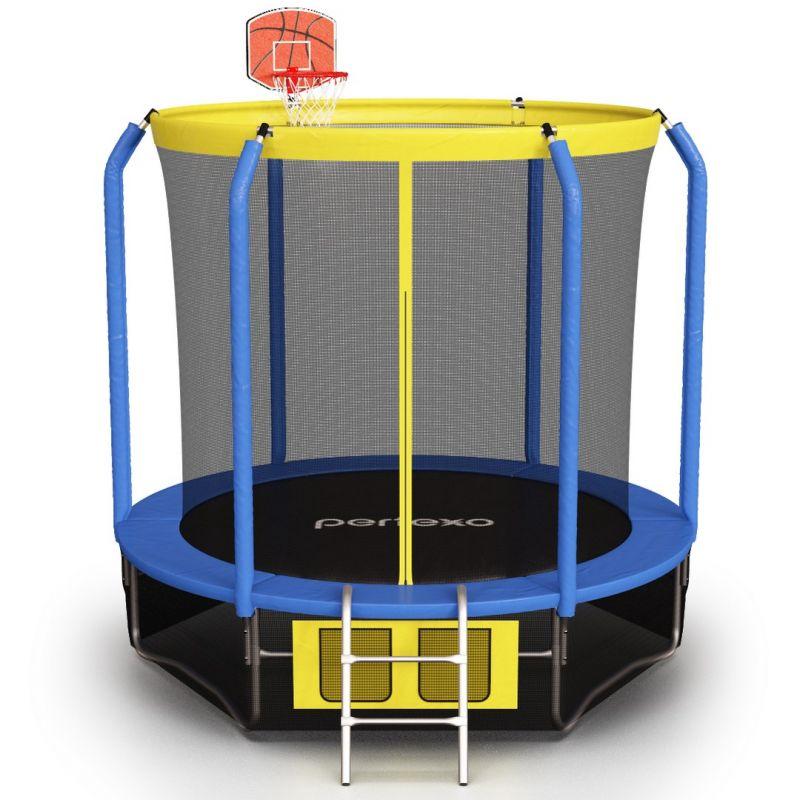 Фотография Батут Perfexo, 8FT, 244 см с сеткой, лестницей, баскетбольным кольцом и сумкой для обуви  1