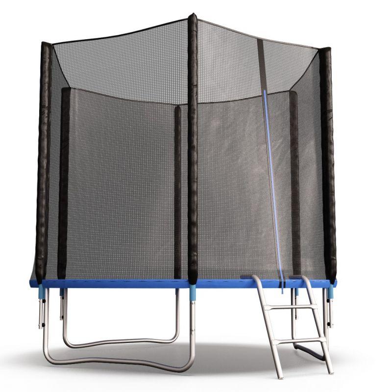 Фотография Батут Perfexo, 8FT, 244 см с внешней сеткой и лестницей, синий 2
