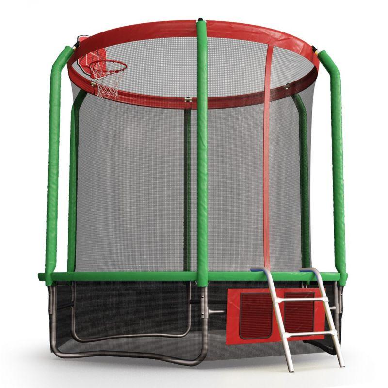 Фотография Батут Perfexo, 8FT, 244 см с сеткой, лестницей, баскетбольным кольцом и сумкой для обуви  5