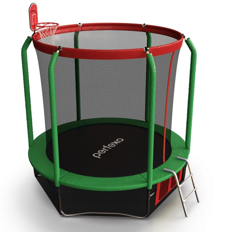 Фотография Батут Perfexo, 8FT, 244 см с сеткой, лестницей, баскетбольным кольцом и сумкой для обуви  6
