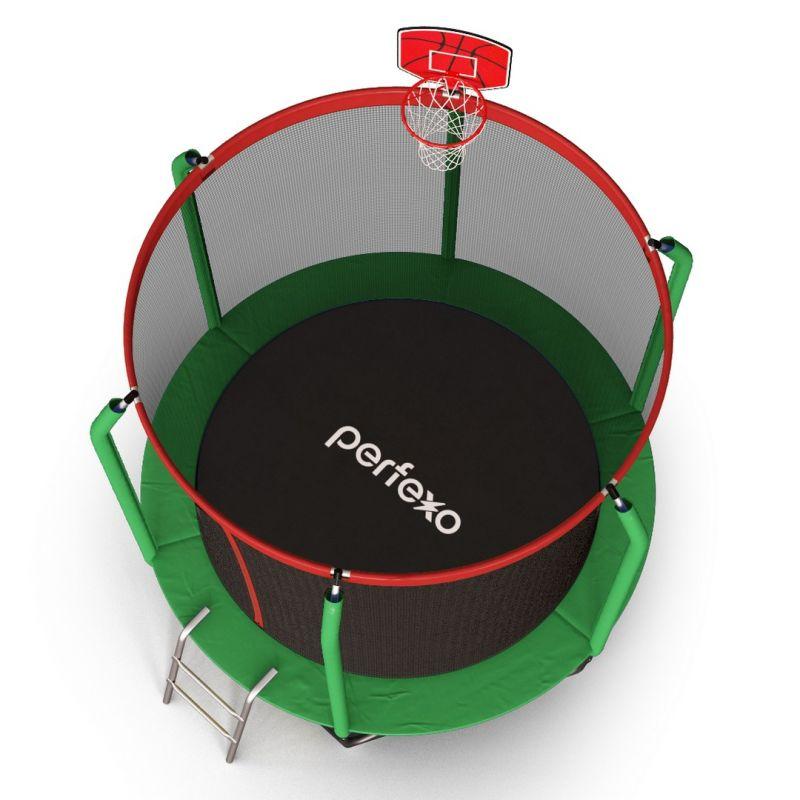 Фотография Батут Perfexo, 8FT, 244 см с сеткой, лестницей, баскетбольным кольцом и сумкой для обуви  7