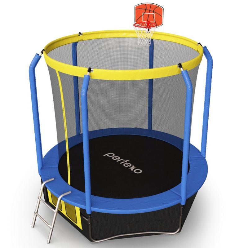 Фотография Батут Perfexo, 8FT, 244 см с сеткой, лестницей, баскетбольным кольцом и сумкой для обуви  8