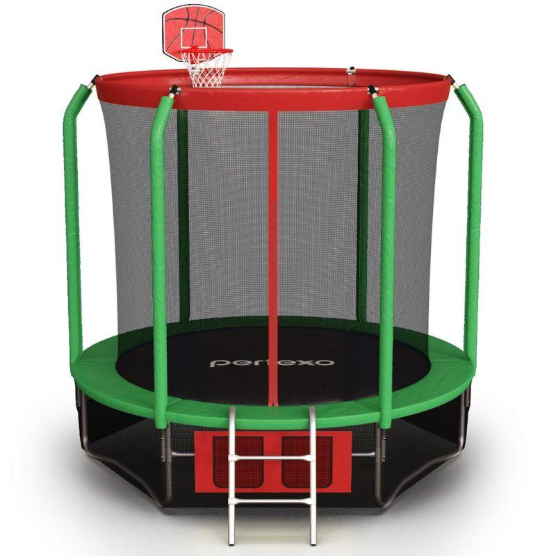 Фотография Батут Perfexo, 8FT, 244 см с сеткой, лестницей, баскетбольным кольцом и сумкой для обуви  0