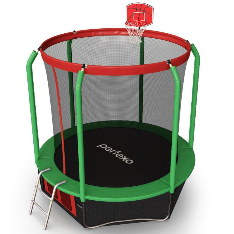 Фотография Батут Perfexo, 10FT, 305 см с сеткой, лестницей, баскетбольным кольцом и сумкой для обуви  10