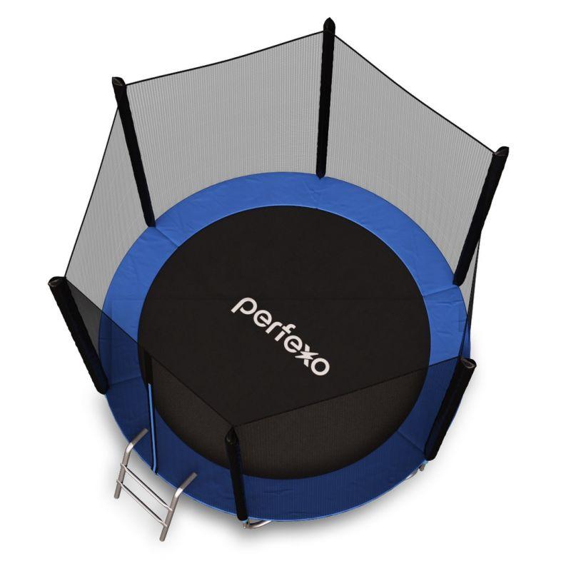 Фотография Батут Perfexo, 12FT, 366 см с внешней сеткой и лестницей, синий 2
