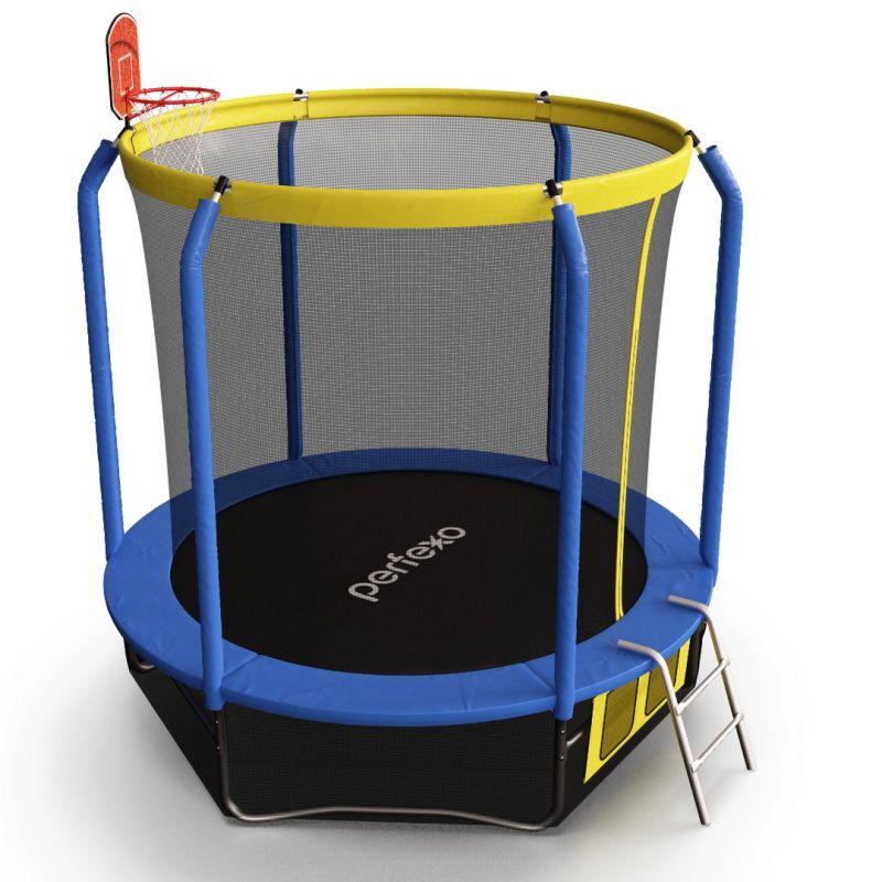Фотография Батут Perfexo, 12FT, 366 см с сеткой, лестницей, баскетбольным кольцом и сумкой для обуви  1