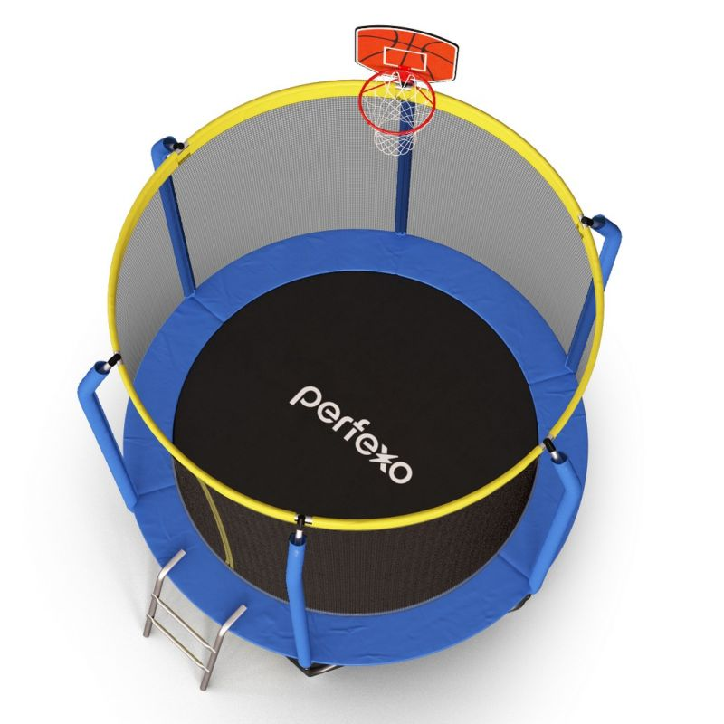 Фотография Батут Perfexo, 12FT, 366 см с сеткой, лестницей, баскетбольным кольцом и сумкой для обуви  3
