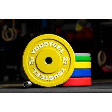 Миниатюра Диск каучуковый цветной 15кг, желтый 51мм 0  мини