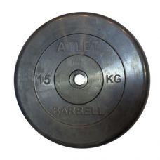 Миниатюра Диски обрезиненные, чёрного цвета, 26 мм, Atlet MB-AtletB26-15 0  мини