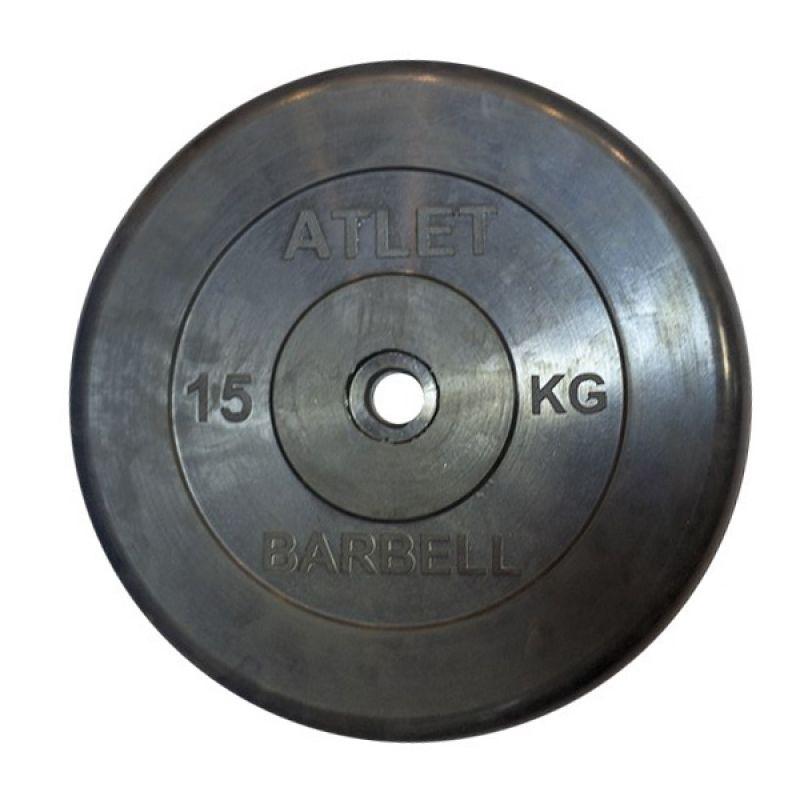 Фотография Диски обрезиненные, чёрного цвета, 26 мм, Atlet MB-AtletB26-15 0