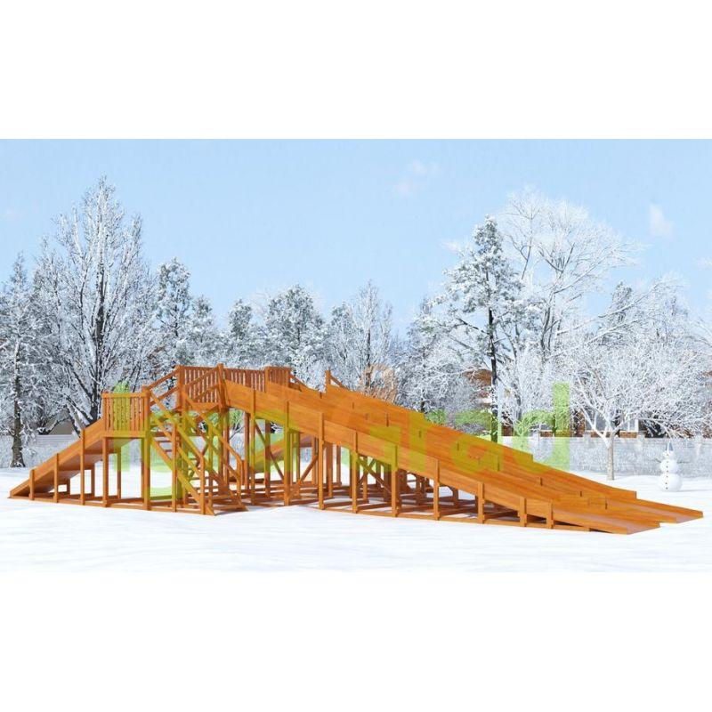 Фотография Зимняя деревянная горка Snow Fox, 4 ската 0