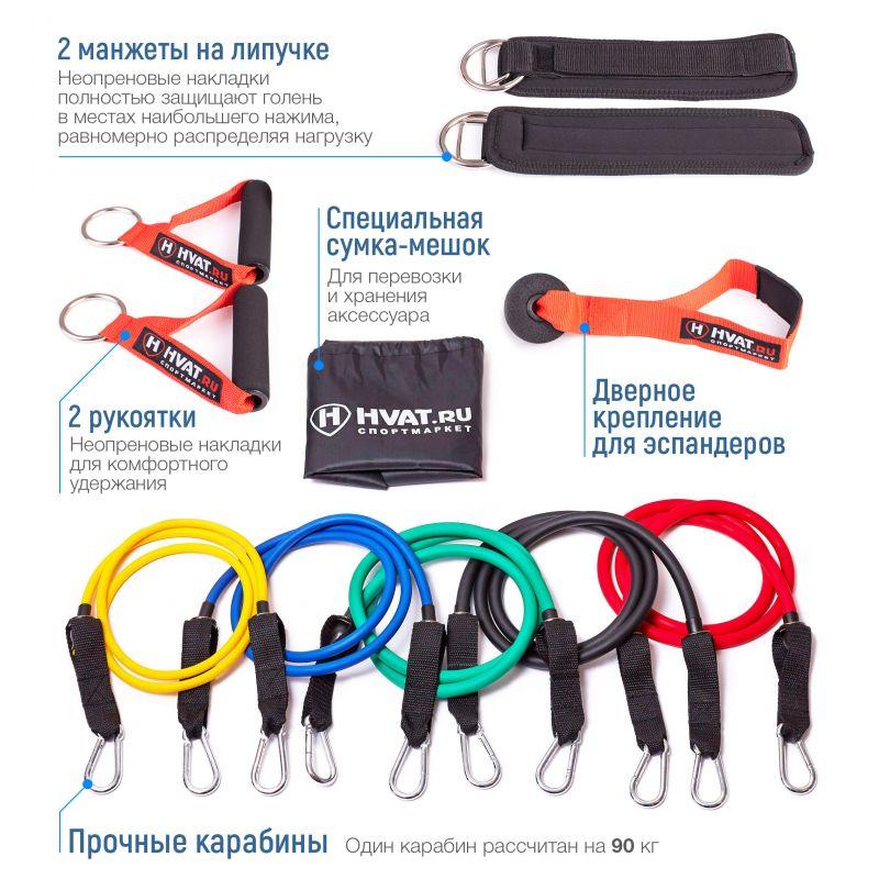Фотография Набор трубчатых эспандеров с ручками (PRO) в мешочке 9