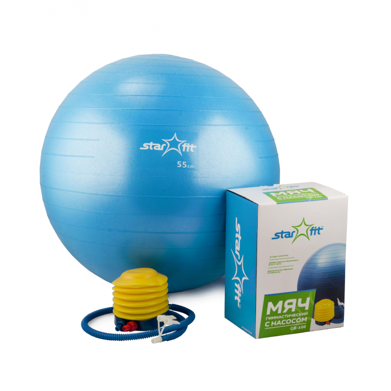 Фотография Мяч гимнастический GB-102 с насосом (55 см, синий, антивзрыв) 0