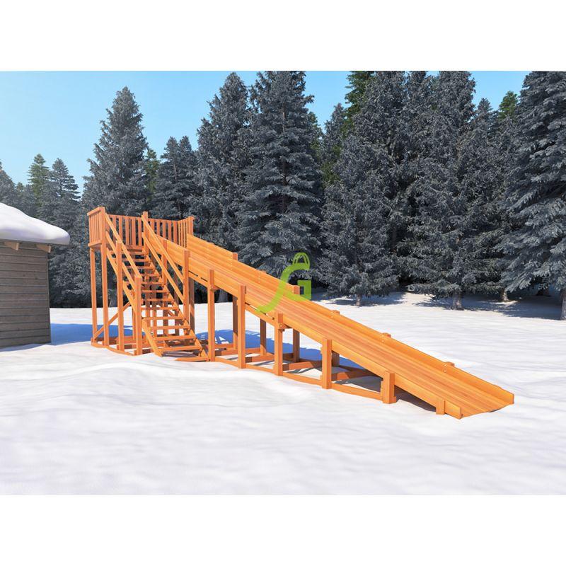 Фотография Зимняя деревянная горка Snow Fox, скат 10 м 0