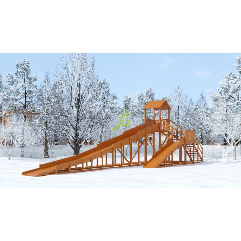 Фотография Зимняя деревянная горка Snow Fox 12 м с двумя скатами 0