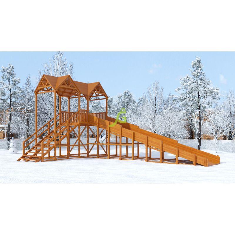 Фотография Зимняя деревянная горка Snow Fox Макси, скат 10 м 0