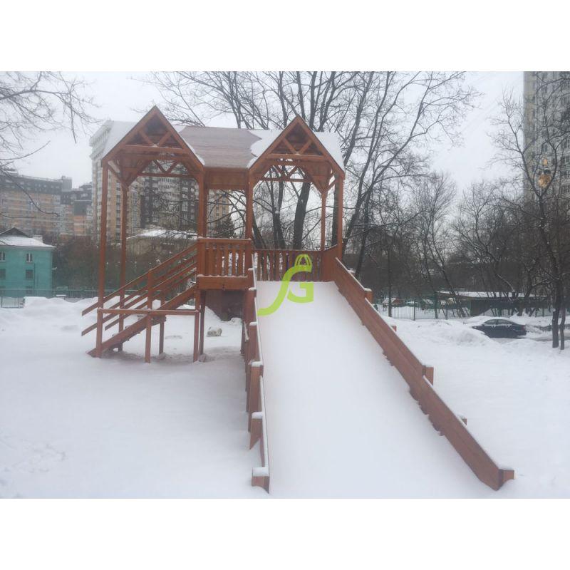 Фотография Зимняя деревянная горка Snow Fox Макси, скат 10 м 4