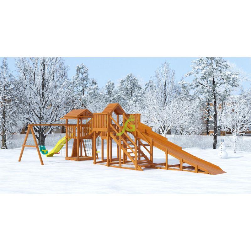"""Фотография Детская деревянная зимняя горка Snow Fox 5,9 м + """"Панда Фани Gride"""" 0"""